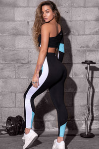 Soft Color Block Side Stripe Leggings - Black
