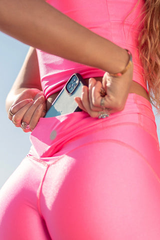 Crystal Pocket Biker Shorts - Neon Pink