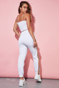 White Drawstring Jogger with Side Stripe