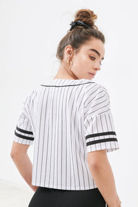 2019 Graphic V-Neck Button-Up Baseball Cropped T-Shirt - White