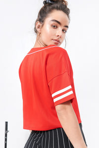 2019 Graphic V-Neck Button-Up Baseball Cropped T-Shirt - Red
