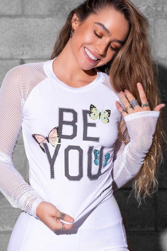 'BE YOU' Soft Mesh Active Long Sleeve - White