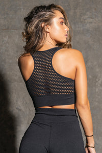 Seamless Cut Out Active Bra - Black