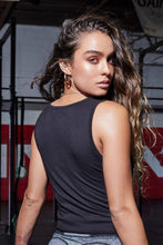 Front Knot Black Tank Top