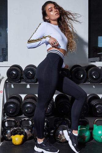 Butt Lift Black Varsity Active Leggings