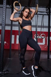 Mesh Side Black Active Leggings