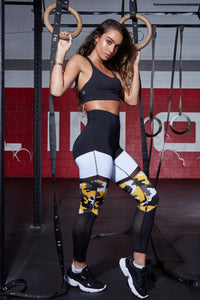 High Rise Color Block Mesh Active Leggings