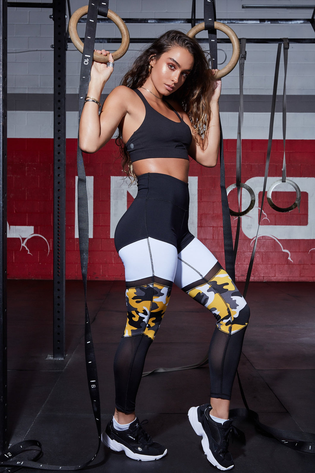 High Rise Black Color Block Mesh Active Leggings