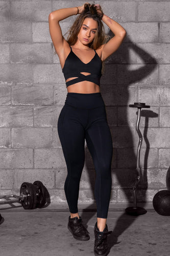 High Rise Butt Lift Active Leggings - Black