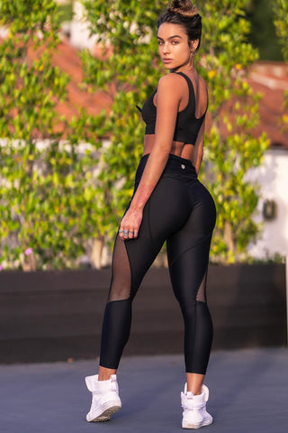 Splice Net Insert Active Leggings - Black