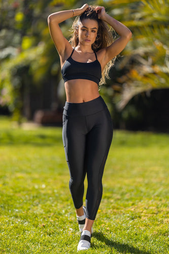 Mesh Insert Butt Lift Active Leggings - Black
