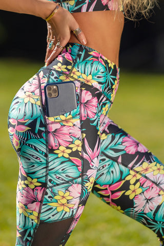 Mesh Insert Butt Lift Active Leggings - Black Floral