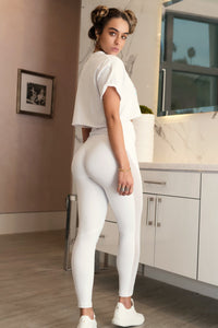 Mesh Butt Lift Active Legging White