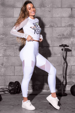 Reflective Stripe Mesh Cut-Out Butt Lift Active Leggings - White