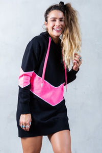 Color Block Oversized Hoodie - Black