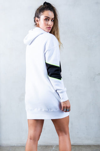Color Block Oversized Hoodie - White