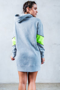 Color Block Oversized Hoodie - Heather Grey