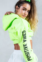 Printed Cropped Hoodie - Neon Yellow