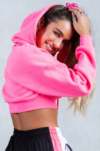 'Be You' Printed Cropped Hoodie - Neon Pink