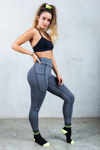 Side-Pocket Active Butt Lift Leggings - Salt & Pepper