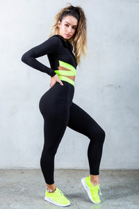 'Be You' Elastic High-Rise Leggings - Black