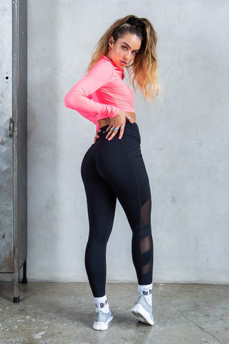 Mesh Active Butt Lift Leggings - Black