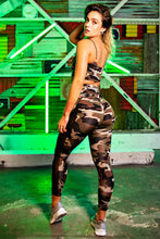 Butt Lift Mesh Leggings with Back-Pocket - Green Camo