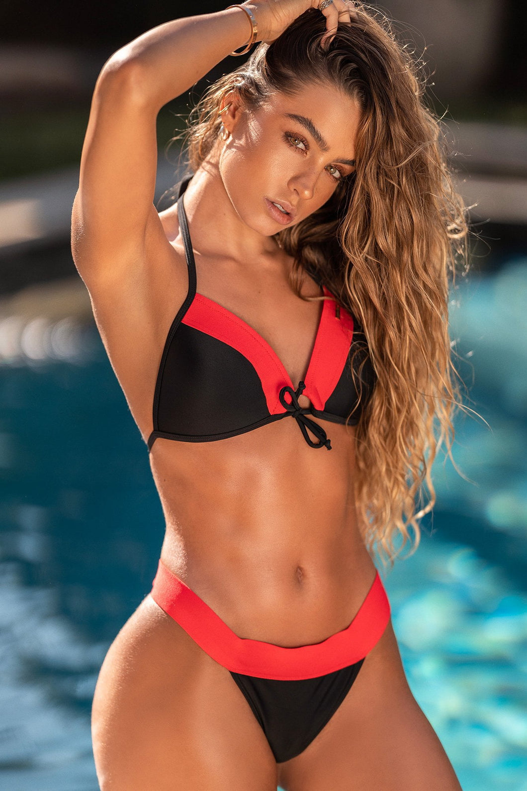 Color Block Bikini Bottom - Neon Red