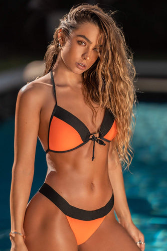 Color Block Bikini Bottom - Neon Orange