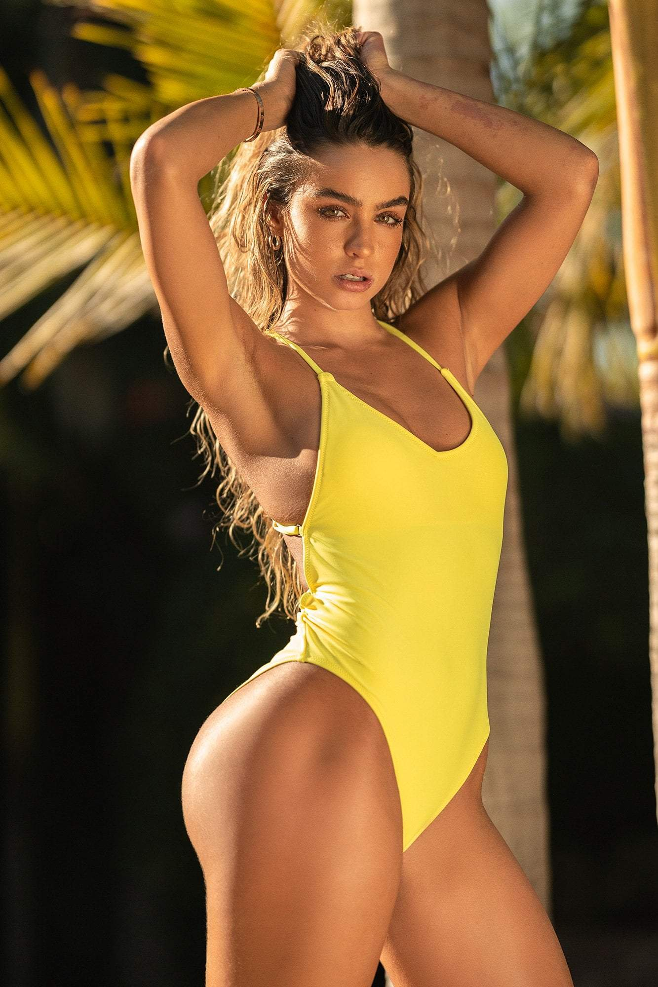 Cross Back V-Neck One Piece Swimsuit - Yellow