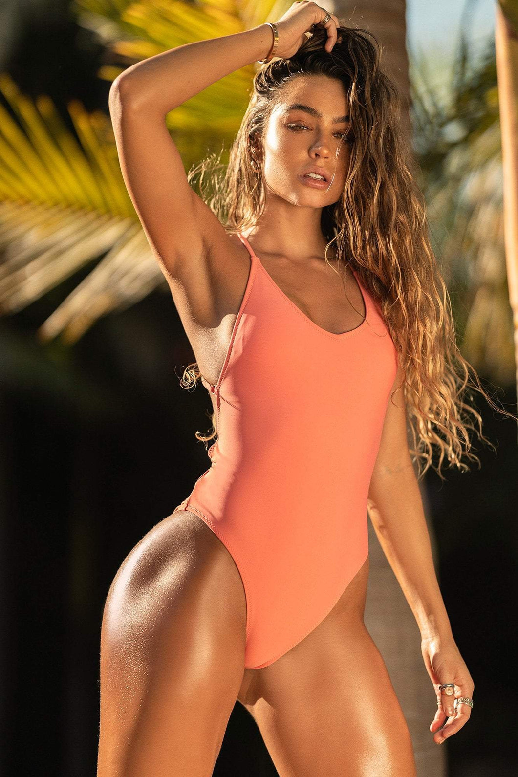 Cross Back V-Neck One Piece Swimsuit - Coral