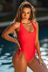 Ruched Cross Back One Piece Swimsuit - Neon Red