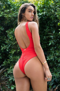 Ribbed Button Cut Out One Piece Swimsuit - Red