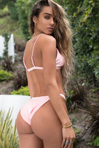 Skinny High Cut Bikini Bottom - Pink