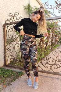 Butt Lift Leggings with Back-Pocket - Green Camo