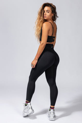High-Rise Butt Lift Pocket Active Leggings - Black