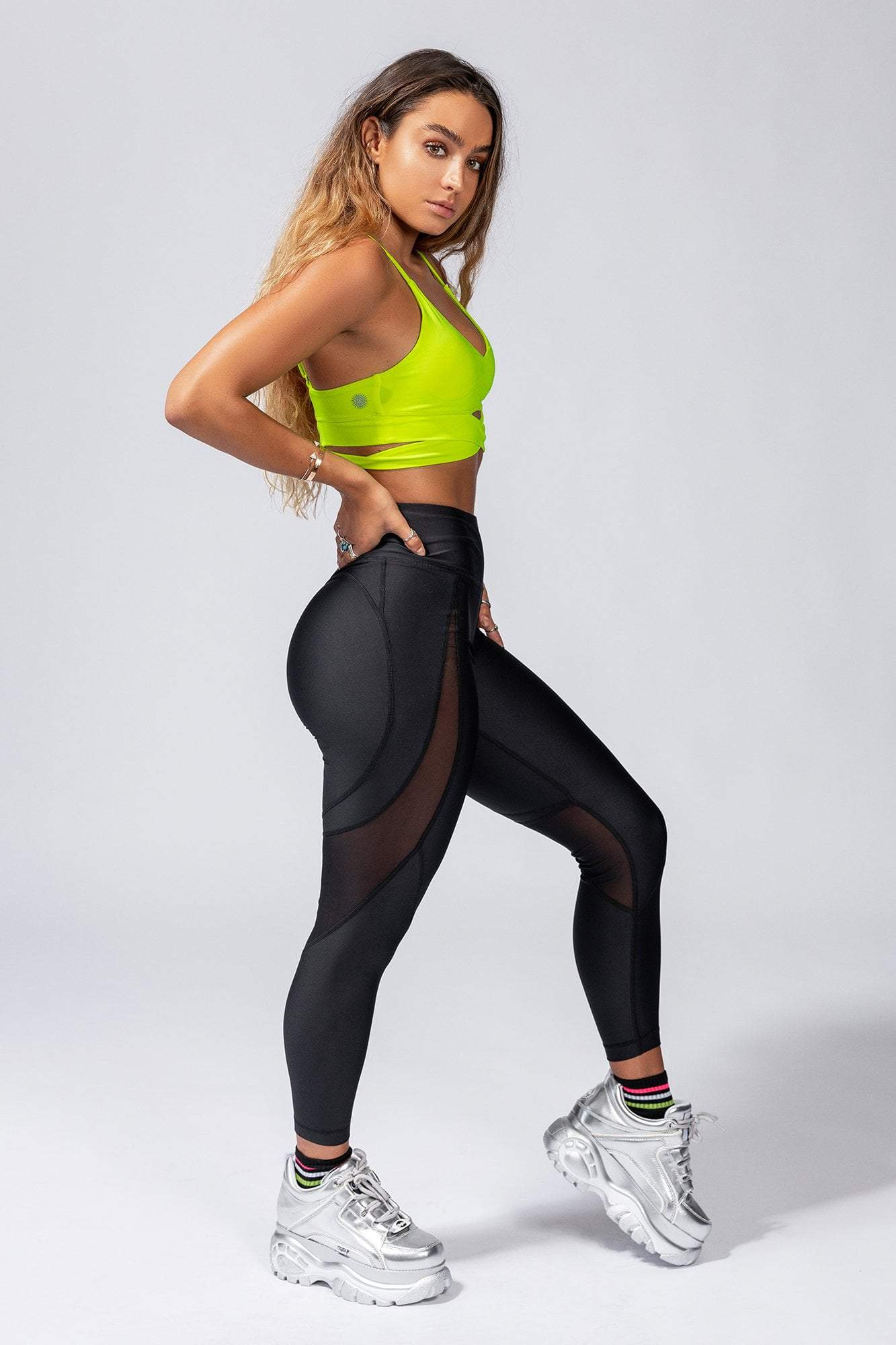 Mesh Slice Butt Lift Active Leggings - Black