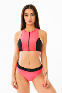 Buckle Belt Bikini Bottom - Neon Pink