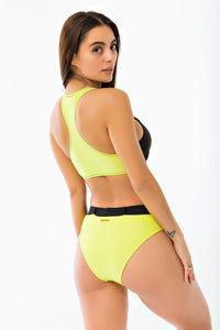 Buckle Belt Bikini Bottom - Neon Yellow