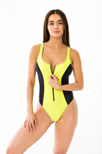 Active Topstitched One Piece Swimsuit - Neon Yellow