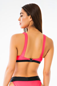Caged Buckle Bikini Top - Neon Pink