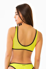 Piped Scoop Bikini Top - Neon Yellow