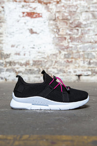 Pull Cord Knit Sneakers - Black
