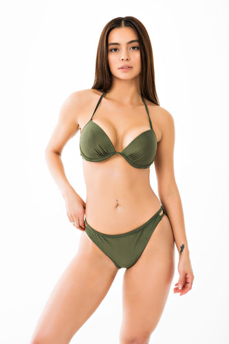 Cut Out Bikini Bottom - Olive