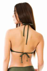 Halter Push-Up Bikini Top - Olive