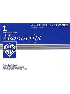 Manuscript Paper A5 4-Stave (Wide) - 24 Pages White