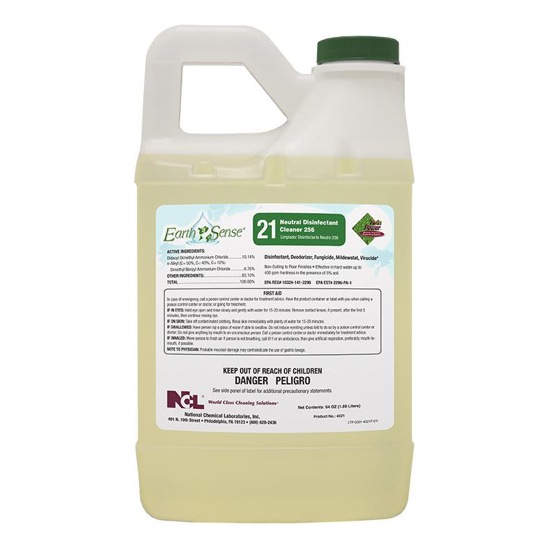 Earth Sense® #21 Neutral Disinfectant Cleaner 256, 64 oz (Carton of 6)