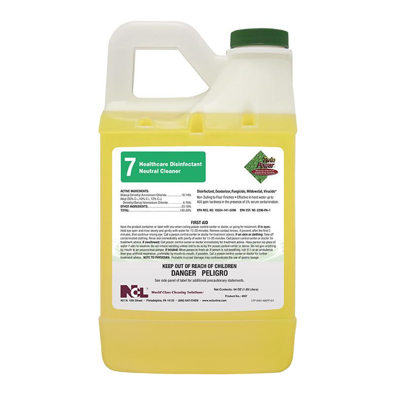 Twin Power™ #7 Healthcare Disinfectant Neutral Cleaner, 64 oz (Carton of 6)