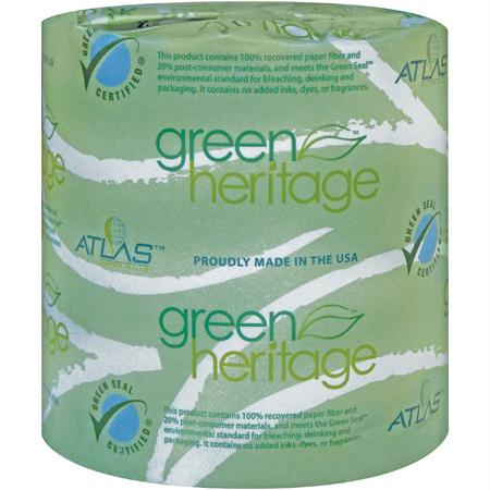 "Atlas Green Heritage 1-Ply Bathroom Tissue(4.1"" x 3.1"") - Carton of 96"