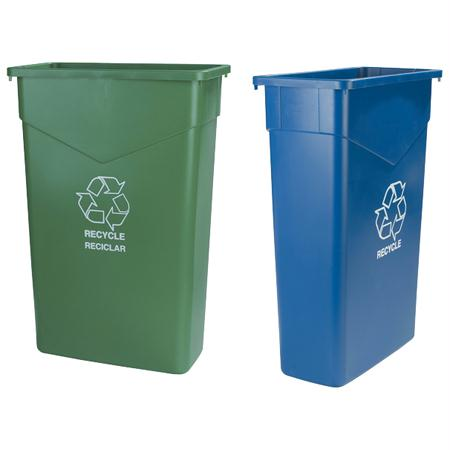 Carlisle Trimline Recycle Cans-Green(23 Gal.)